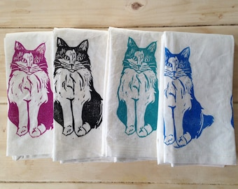Tea towel organic hand printed cat