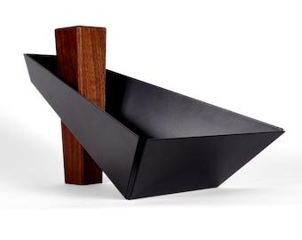 Margo | Walnut & Black - Pedestal Tray, Fruit Bowl, Centerpiece