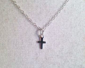 Cross Necklace - First Communion Jewellery - Sterling Silver Jewelry -Baptism - Christening - Dainty - Chain - Children Religious Church