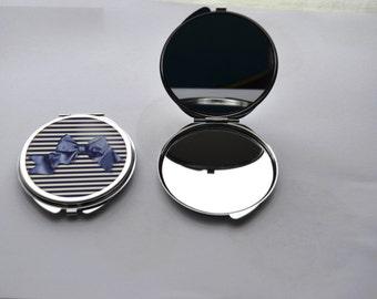 """miroir de poche double """" marinière et noeud """" en métal"""