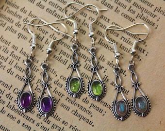 Gemstone earrings, victorian jewelry, natural gemstone jewelry, amethyst earrings, labradorite jewelry, gothic jewelry, boho jewelry, strega