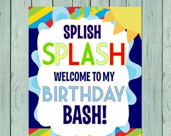 Splash Party Digital File Welcome sign*****INSTANT DOWNLOAD**** (Splash-rnbw34)