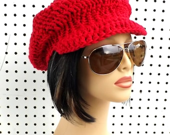 Newsboy Hat Newsboy Beanie Hat, Crochet Hat Womens Hat Trendy, Cotton Beanie, Annie Red Hat