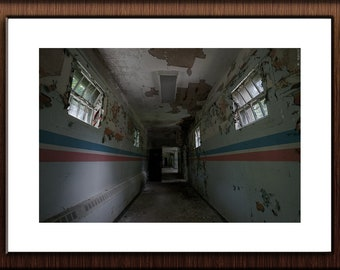 Abandoned Photography Print Fine Art Wall Art Gift - Decaying Hallway - Creepy Abandoned Hospital - Stripes - Urbex Urban Exploration