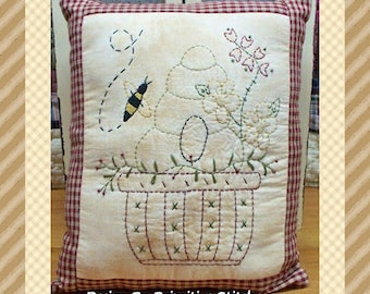 Bee Keeper-Primitive Stitchery E-PATTERN-Instand Download