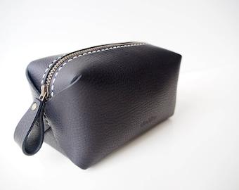 Leather Cosmetic Bag, Leather Makeup Bag, Leather Makeup Pouch, Leather Zipped Pouch, Leather Vanity Bag - Black