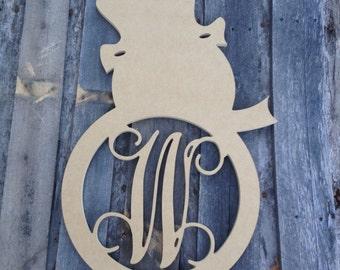 Wooden Monogram letter Snowman
