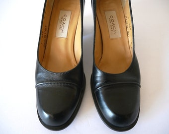 Vintage COACH Black Leather Pumps / chunky heel slip on shoes