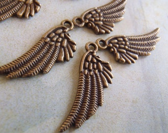 10 - Antique Bronze - Angel Wing Charm - Double sided