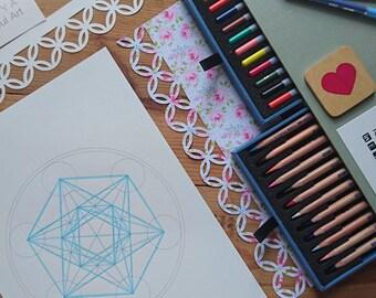 Metatron's Cube Coloring Book-Sacred Geometry Art Prints-Energy Healing Symbol-5 Printables-INSTANT DOWNLOAD by @HALELUYA Sacred Soul Art