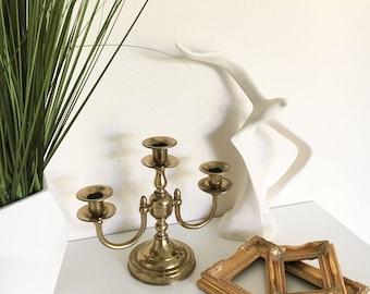 Vintage Brass Candelabra | 3 Arm Candle Holder Dining Table Decor