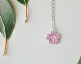 Pink pendant, floral pink necklace, woman jewelry, gift for her
