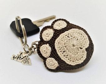 Crochet brown dog paw keychain Year of the dog Amigurumi keychain Dog charm keyring Brown keychain Brown dog paw New year gift idea