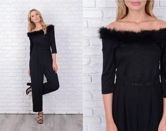 Vintage 80s Black Jumpsuit Wide Leg Pleated Off Shoulder Feather Retro Medium M 11507