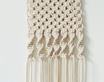 Macrame Wall Hanging - Small Solid Twist (White/Turquoise) #006