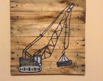 Medium Construction Crane,20x20,Boys Rustic Wall Art,wood pallet art,wood plank art,Construction decor,dump truck,Work truck,boy truck art