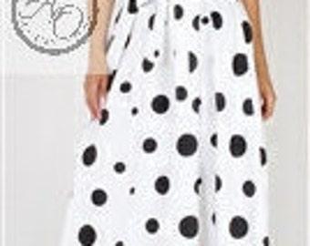 White w Black Polka Dot Long Pleated Skirt