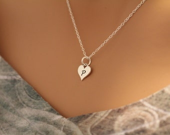 Sterling Silver P Letter Heart Necklace Tiny Stamped Initial