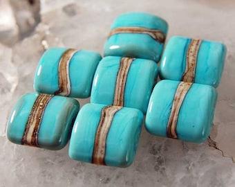7 Organic Turquoise Nuggets , handmade Lampwork Beads by Beadfairy Lampwork SRA