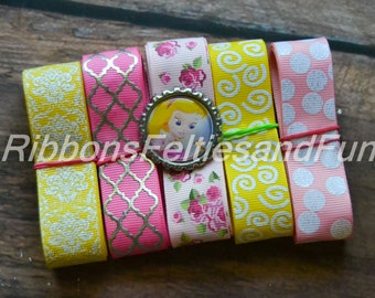 Sleeping princess grosgrain ribbon and bow center bundle, sleeping princess bottle caps, sewing supplies, grosgrain, polka dot ribbon