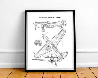 "Curtiss P-40 Warhawk Blueprint, Aircraft Blueprint, Curtiss P40, Instant Download, P40 Warhawk wall art, Aviation Decor, 8x10"", 11x14"""