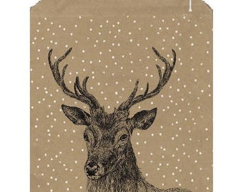 50 large kraft paper bags for Christmas - Sachet packaging deer in the snow