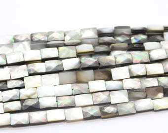 Faceted Mother of Pearl Shell Rectangle beads 8 x 12mm