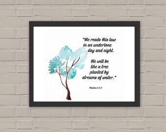 Bible verse Psalms 1:2,3. Printable Wall Art. JW Printable