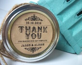 Thank You KRAFT paper canning jar labels, custom wedding and bridal shower favor jar labels, rustic vintage round jam jar stickers