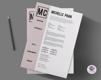 1 page CV template (+ cover letter template + references template ) / 1 page resume / professional CV / job application/ minimal CV design