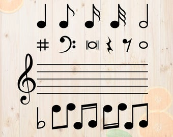Musical notes Svg Bundle, Music dxf, Music cut files, Musical vector for cricut & cameo, musical symbol svg, music clef svg
