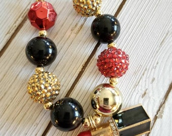 Lipstick Love black gold red beaded necklace