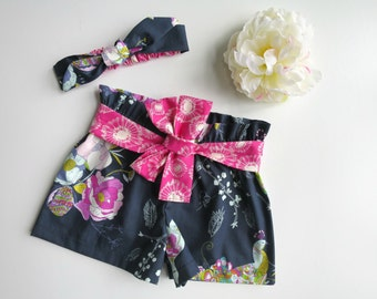 Size 3 Petal and Plume Shorts with Matching Headband