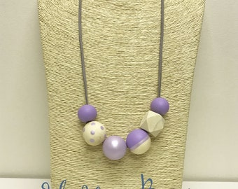 Lavender hand painted wooden bead necklace