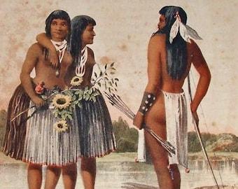p7113: Antique Indian Original Print by Arthur Schott c1858 Yumas Portrait of Leoch at Vintageway Furniture