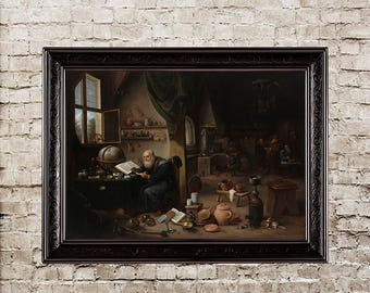 Alchemist, Teniers, baroque, baroque painting, alchemy, baroque decor, alchemy canvas, canvas art, handmade poster, alchemy decoration, 300