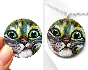 Cat Necklace, Pet Art, Grey Tabby, Rainbow Painting, Pet Portrait, Cat Pendant, Memorial Gift for Animal Lovers, Hand Painted Wood Jewelry
