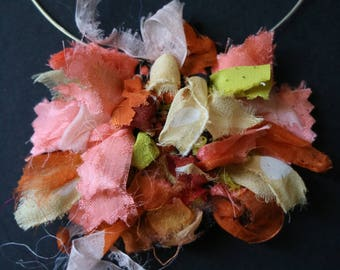 Citrus silk handwoven necklace- unique wearable art by Mary Burgess