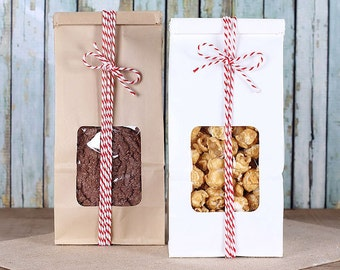 Christmas Cookie Bags, Tin Tie Bags, Half Pound Bags, Wedding Favor Bags, Candy Buffet Bags, Bakery Bags, Party Favor Bags, Sweet Bags (12)