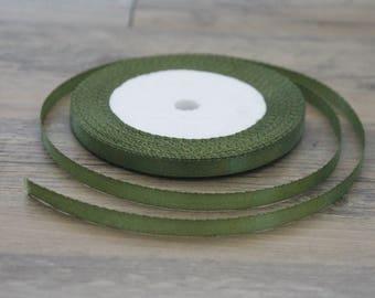20 m of khaki colored 6mm satin ribbon