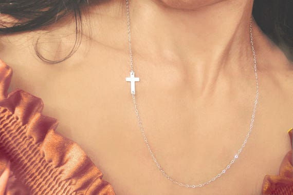 Long Cross Necklace, Small Silver Cross Necklace, Long Sideways Cross, Long Necklace, Long Layering Necklace, Cross Necklace
