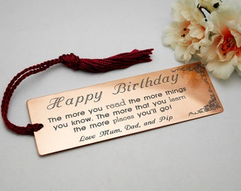 Custom design copper bookmark engraved gift for daughter birthday copper bookmark personalised gift for women gift for her daughter present