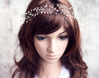 12 Bridal tiara, Diadem, Wedding tiaras, Diadem bride, Bridal diadem, Headpiece, Crystal diadem, Diadem twigs, Vine crown, Silver diadem.