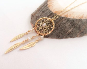 Gold filled necklace | dream catcher necklace | beaded necklace | necklace with pearls | wire wrapped necklace