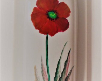 Poppy Butter Dish Hand Painted Poppy Covered Butter Dish Poppy Butter Dish With Lid Painted Poppy