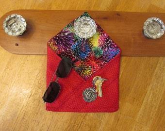 "Handmade Reversible ""Forget-Me-Not"" Doorknob Pocket, Organizational Reminder Pouch, red, fireworks"