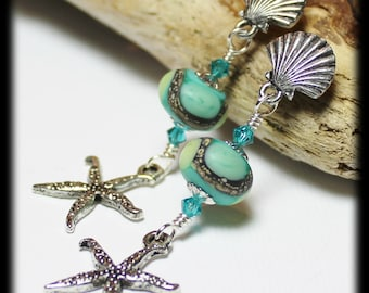 Beachcomber... Handmade Jewelry Earrings Beaded Lampwork Crystal Beach Seashell Sea Shore Shell Starfish Aqua Ivory Lime Silver Pewter Post