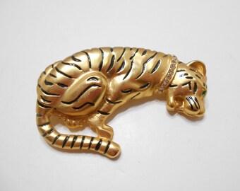 Gorgeous Gold Tone Tiger Brooch (0865) Rhinestone Collar