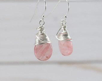 Pink Dangle Earrings, Silver Earrings, Sterling Silver Dangle Earrings, Sterling Silver Earrings, Wire Wrapped Earrings, Pink Earrings, Drop