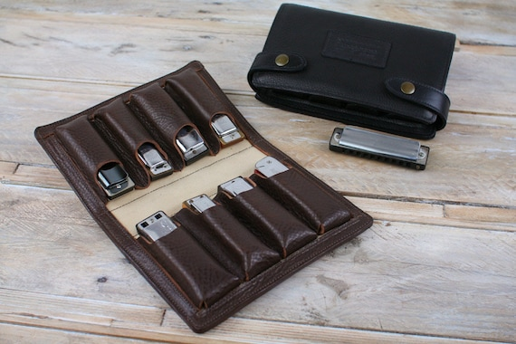Eight-Pack Leather Harmonica Case, leather blues harp holder, 8 harmonica holder